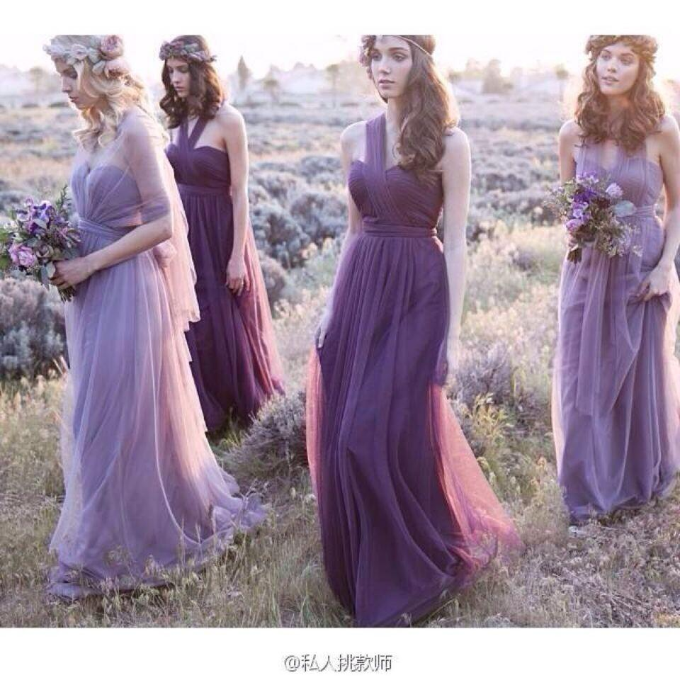 Purple convertible bridesmaid dress with halter ruffles backless purple convertible bridesmaid dress with halter ruffles backless wedding guest dress floor length tulle cheap bridesmaid dress country style chiffon ombrellifo Images