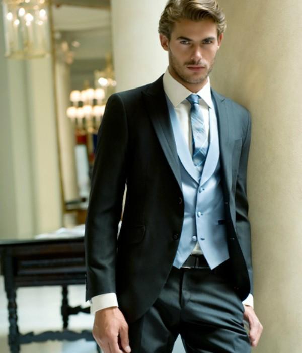 New Style Black Mens Wedding Tuxedos 2015 Peaked Lapel Wedding Suits ...