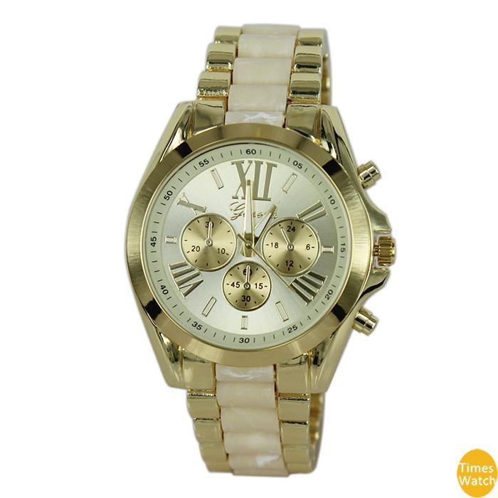 Frete grátis Top Quality 2015 Nova Genebra Relógios Mulheres Liga Banda Relógios de Quartzo Homens Relógio De Ouro Da Marca de Relógios Analógicos