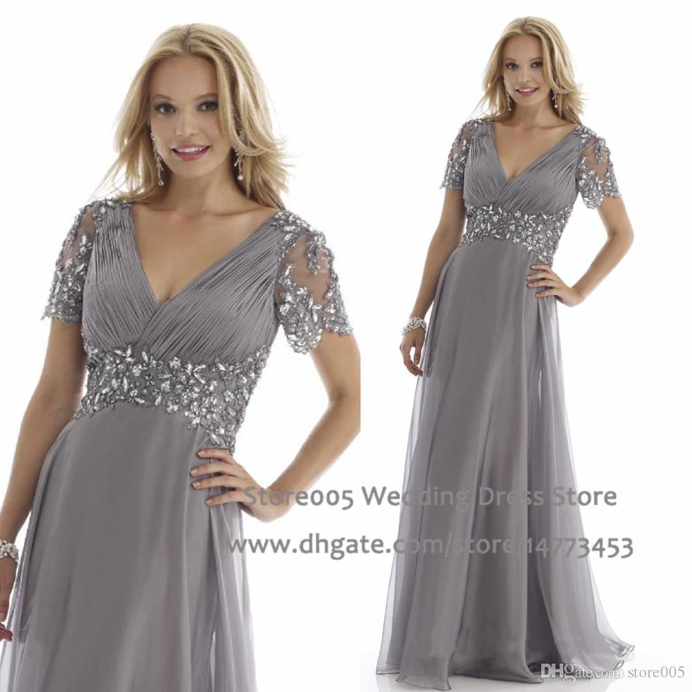 Designer Grey Plus Size Mother Of The Bride Dresses A Line Short ...