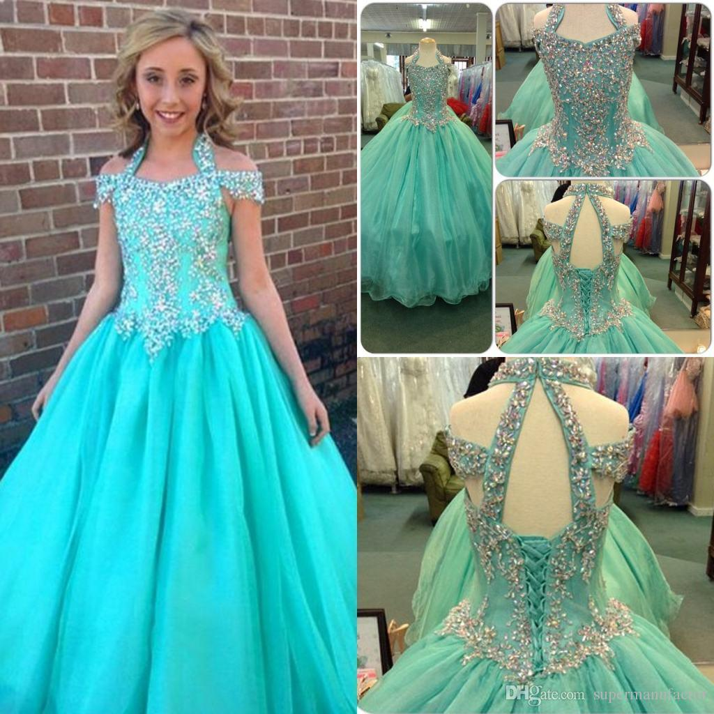 Halter Flower Girl Dresses With Beaded For 16 Years Girls Pageant ...