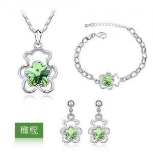 Flower Pendant Necklaces Jewelry Sets Austria Zircon Crystal Necklace+Earrings+Bracelet Jewelry Sets Women Jewellry Accessory Free Ship