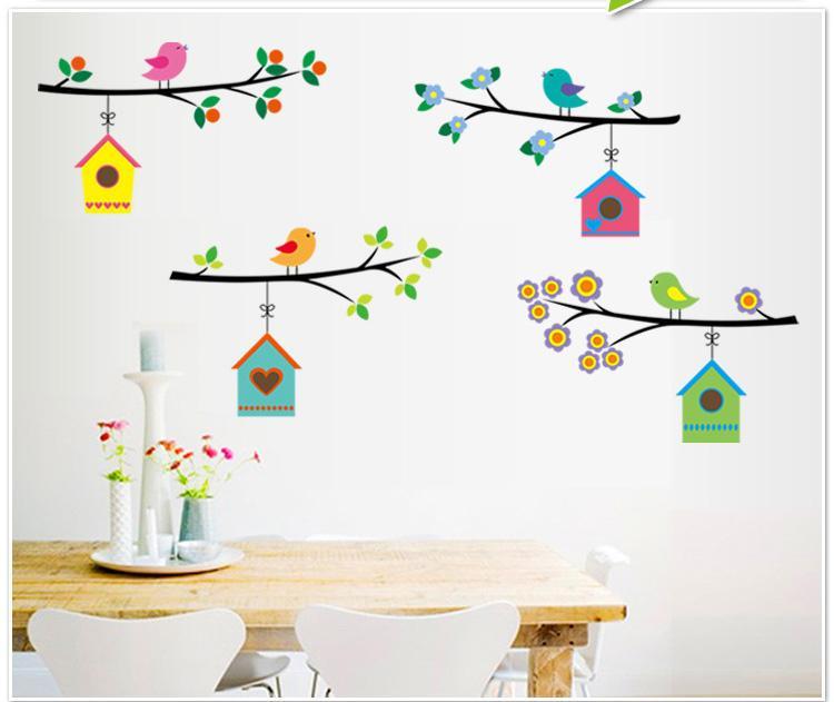 Arbre Cage D/'Oiseau Maison Autocollant Art Mural pour Chambre Amovible Décor De