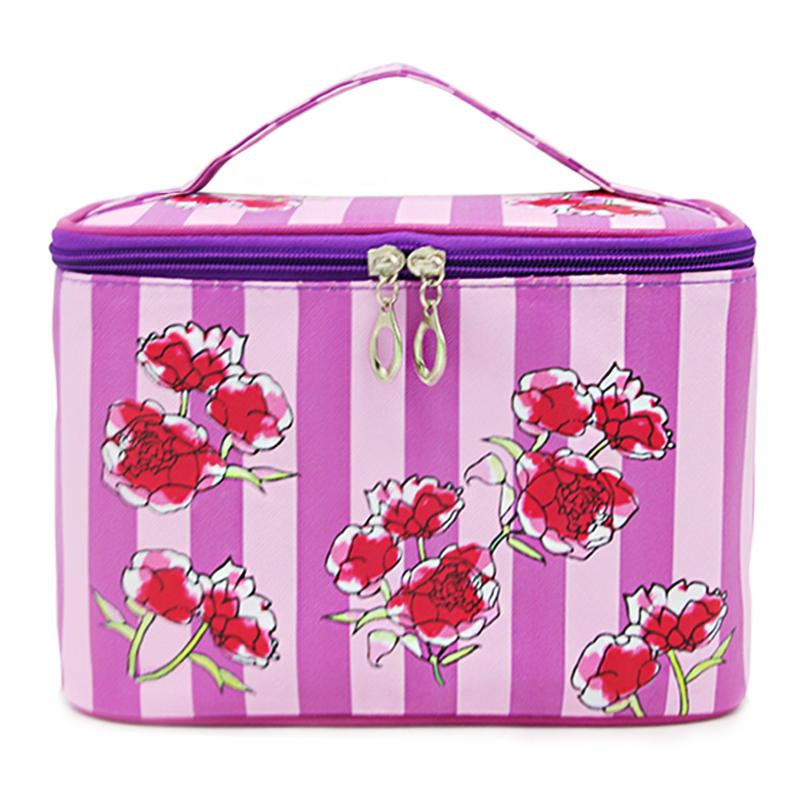 Flower Striped High Capacity Cosmetic Bag High Quality Women Waterproof Travel Toiletry Bag Necessaire Make up Bags SZL852