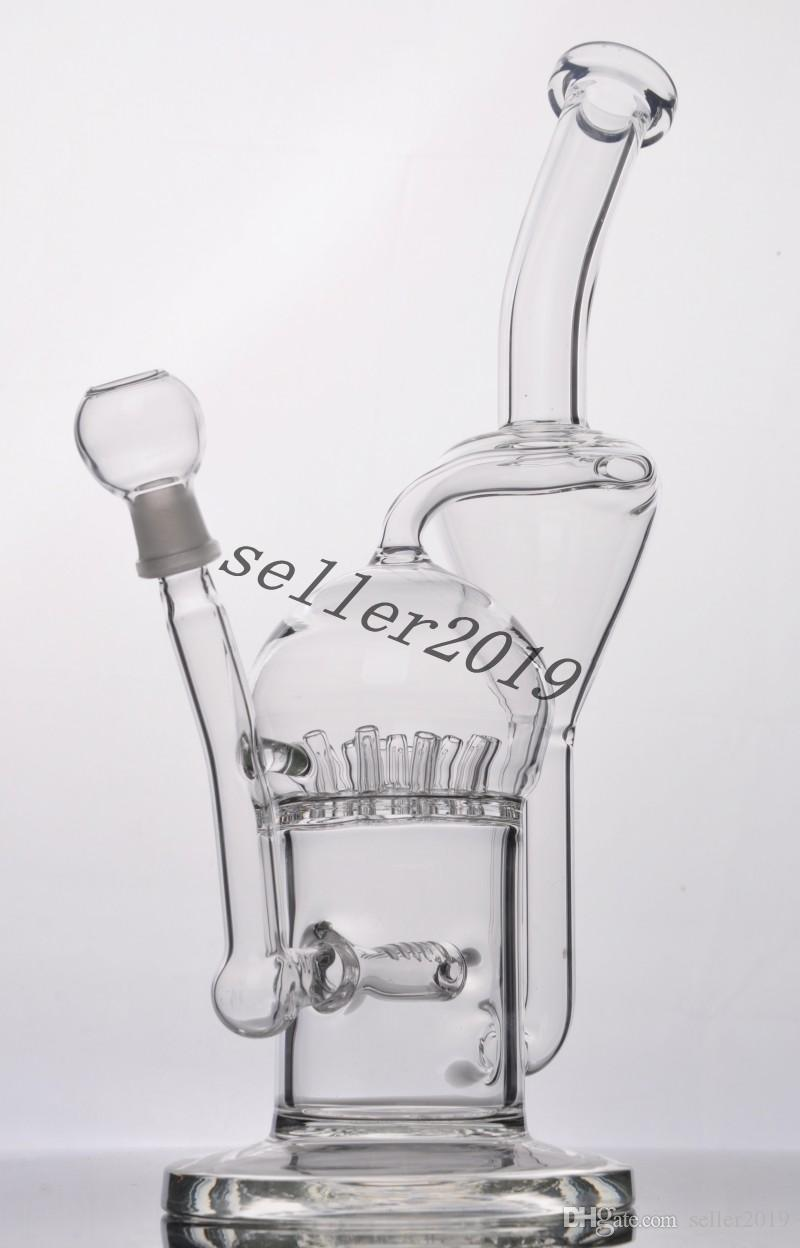 Newest glass bong glass water pipes glass bongs with joint with Inline Perc Recycler