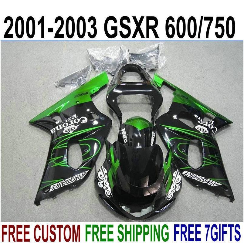 Frete grátis kit de carenagem para SUZUKI GSXR600 GSXR750 2001-2003 K1 GSX-R 600/750 01 02 03 verde preto Corona plástico carenagem set XN7