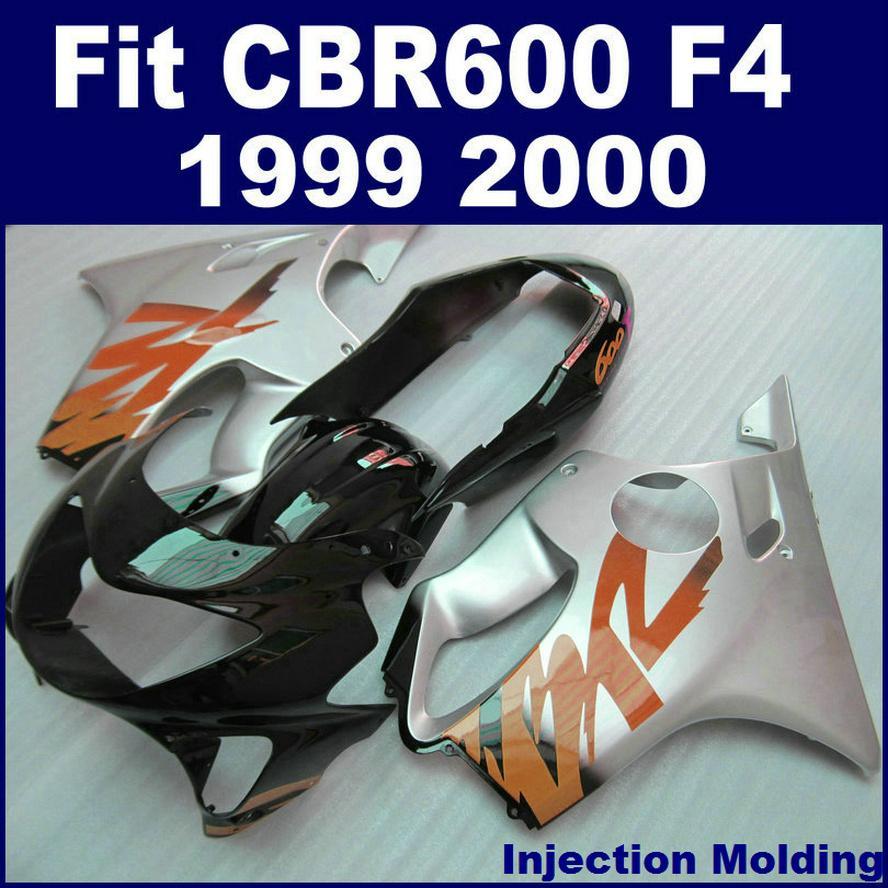 HONDA için 100% ABS yarış Enjeksiyon kalıplama parçaları CBR 600 F4 1999 2000 gümüş siyah cbr600 f4 99 00 özel kaporta QOVD