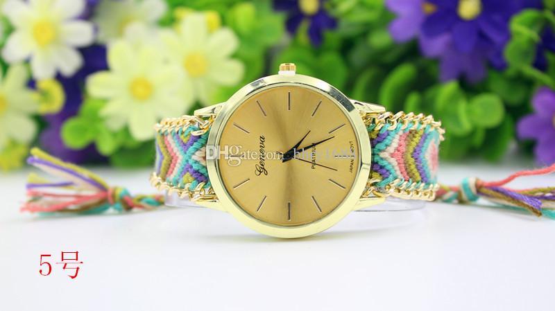 es Ginebra relojes tejidos Las mujeres tejen trenzado hecho a mano Reloj pulsera de la cuerda Relojes Para las mujeres vestido de las señoras Reloj de pulsera
