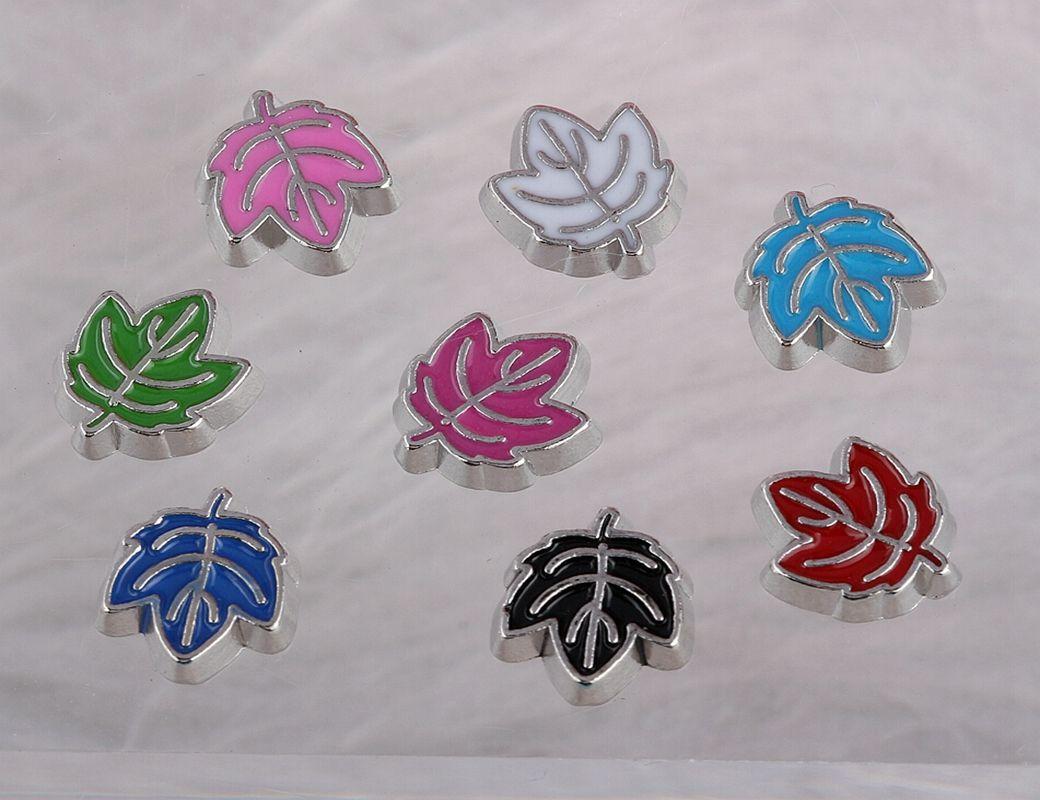 Flutuante medalhões encantos folhas esmalte prata Vintage Para vidro viver Memória Flutuante Locket Mix projeto Assorted encantos Jóias Meninas