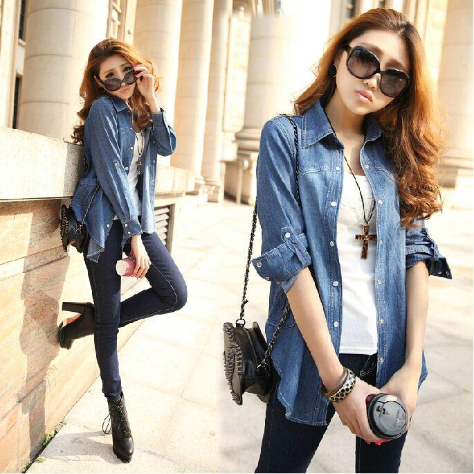 European Style Women Long Denim Blouse Jean Shirt Slim Shirt Dark ...