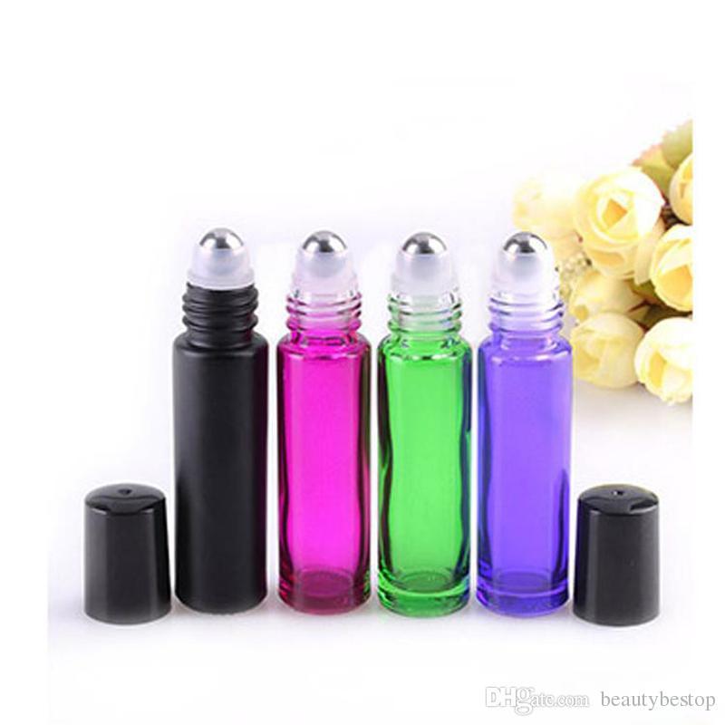 Freies Verschiffen-Schwarzes / Rosa / Grün / Purpur 10ml Rollen-Kugel des ätherischen Öls füllt GroßhandelsParfum-Glas-Rolle auf leerer Flasche / ab