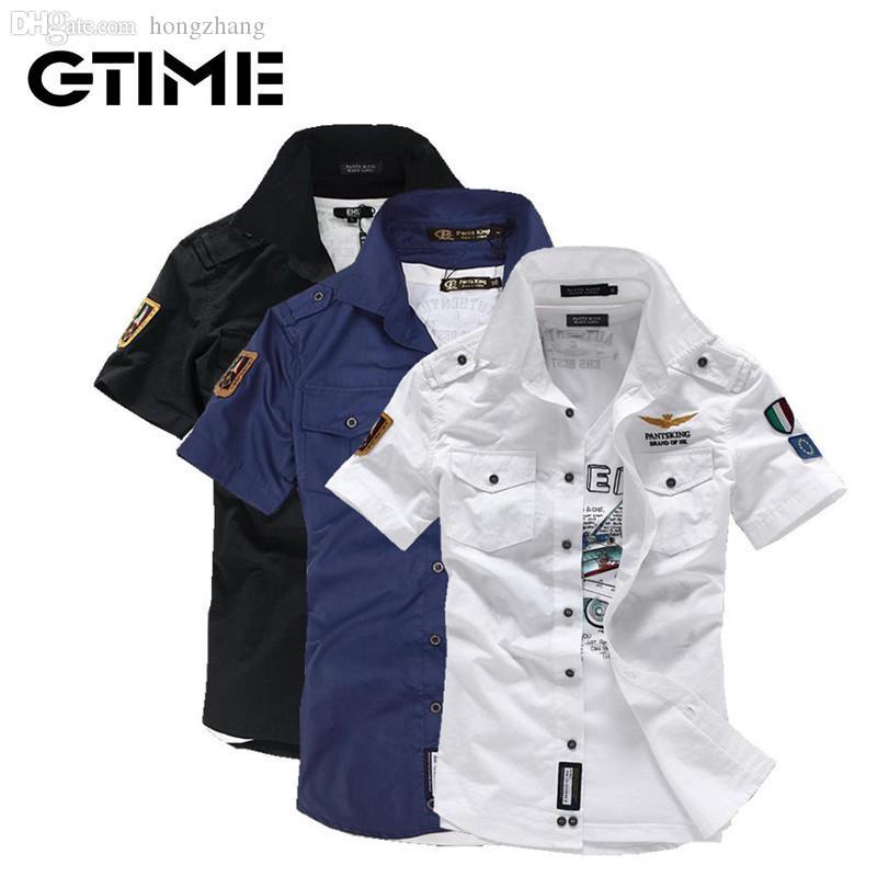 a7ba7b0ae2 Compre Atacado Fashion Airforce Uniforme De Manga Curta Camisas Dos Homens  Camisa De Vestido Frete Grátis   W0064 De Hongzhang