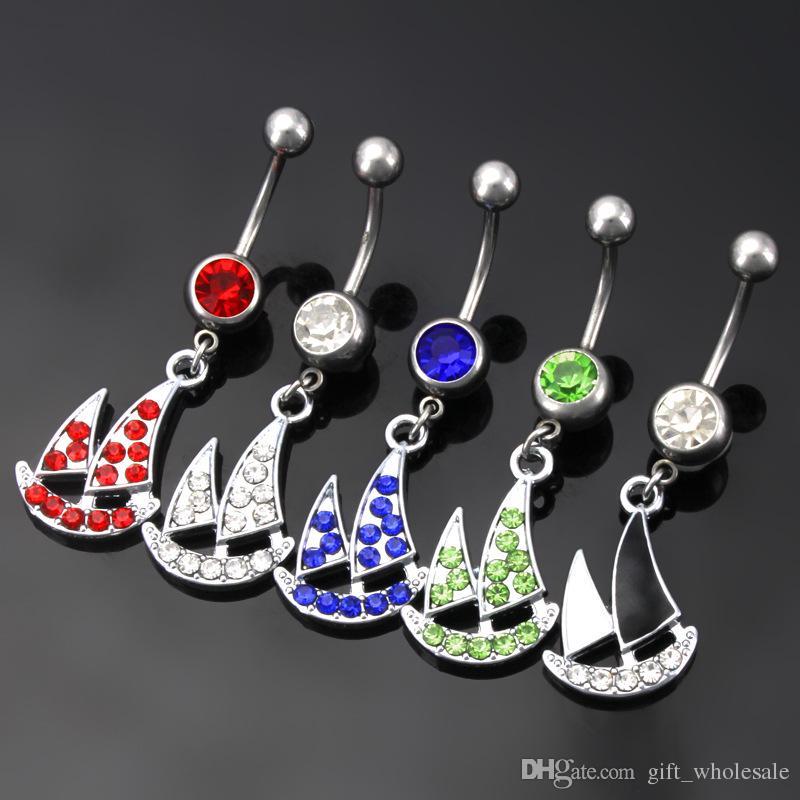 Fabrik Direktverkauf Edelstahl Rhinstones Segelboot Bauchnabel Ringe Nabel Ring Körper Piercing Schmuck 5 Farben für entscheidungen