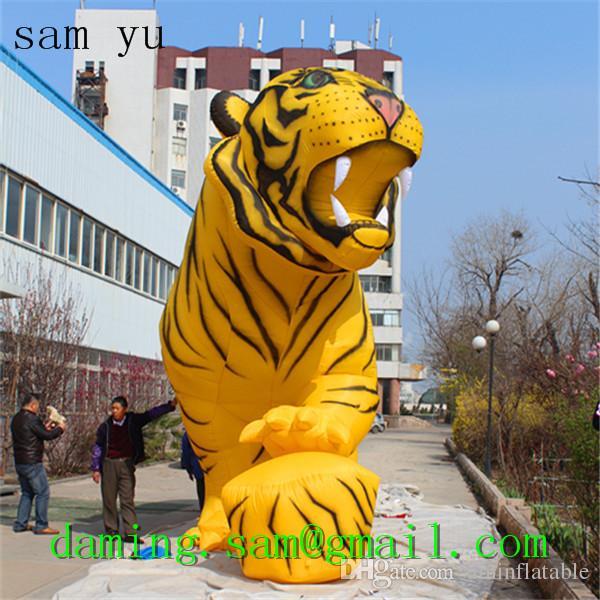 Fabricante Modelo inflable del tigre mascota de la historieta Globo inflable gigante modificado para requisitos tigre gigante inflable para hacer publicidad Inflables