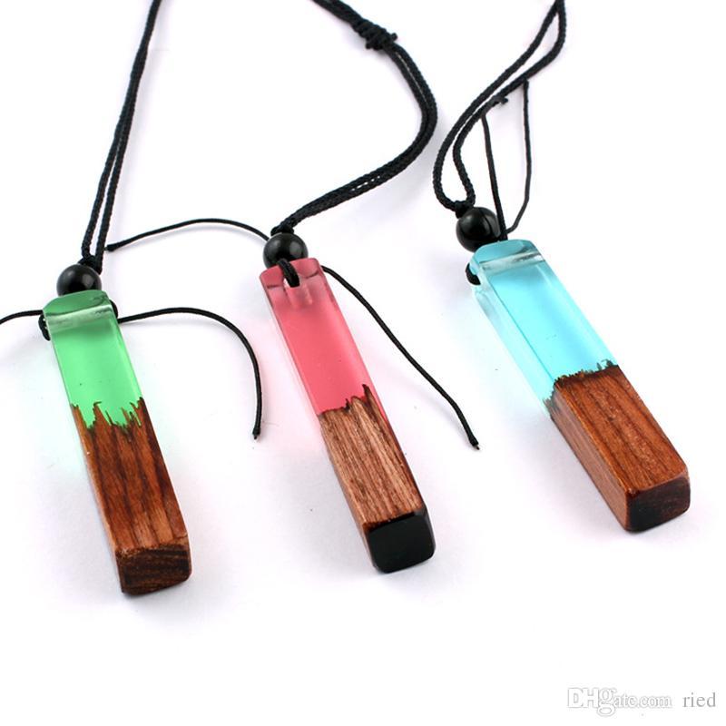 Mode Vintage Résine Bois Collier chaîne tressée longue corde main Colliers Pendentif en bois pour les femmes Hommes Bijoux ethnique