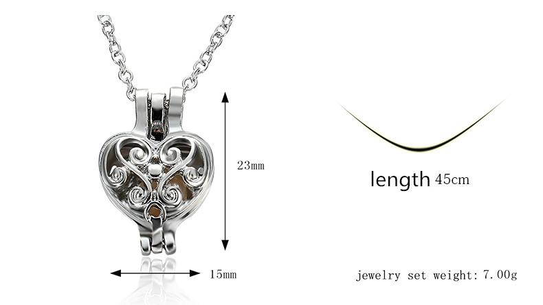 Chimes Pregnancy Ball necklace Luxurious floating Lockets romantic love jewelry silver Heart hollow oyster Pearl pendant necklaces Women