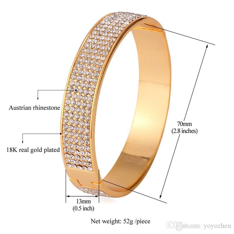 Prachtige 400 stks Oostenrijkse steentjes manchet armbanden dames 18K echte vergulde hoge kwaliteit grote armbanden