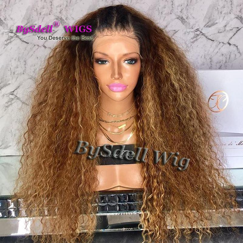 Polished Brown Honey Blonde Color Fluffy Kinky Curly Hair Wig With