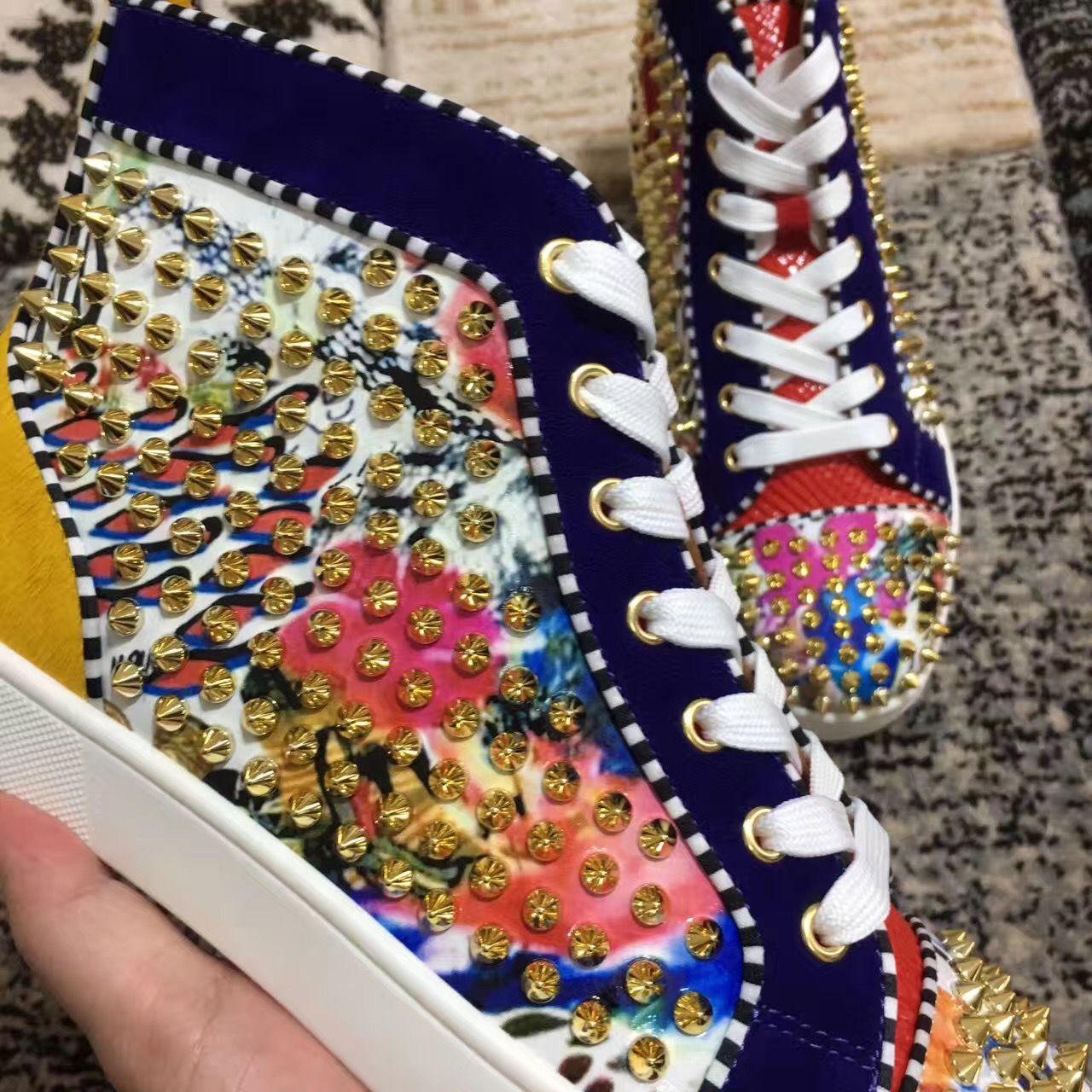 Золотые Шипы Цветок Кожа Женщины,Мужчины Унисекс Кроссовки Обувь Дизайн Высокий Верх Красное Дно Обувь Стад Повседневная Ходьба Квартиры Размер 35-46