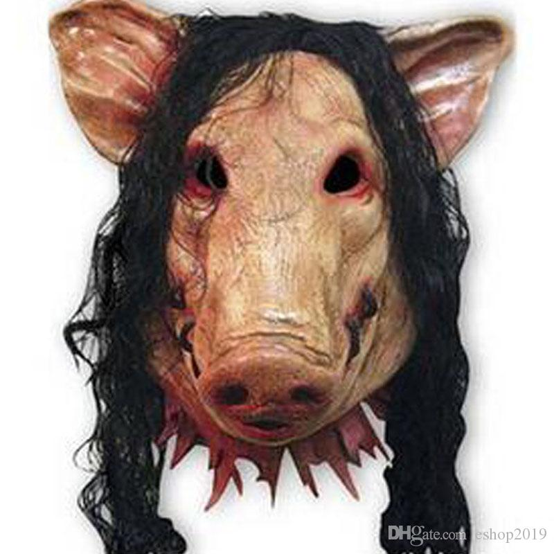 Scary Pig Mask with Long Black Hair Full Head Halloween Party Mask Cospaly Animal Latex Mask Masquerade Fancy Dress Carnival Mask