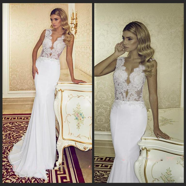 2015 Cut Outs Summer Wedding Dress With Sparkly Beads Sequins V Neck Sleeveless Lace Sheer Zipper Back Chiffon Mermaid Bridal Gowns Fitted