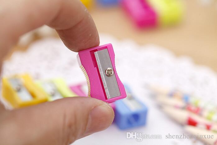 cute creative kawaii cartoons plastic mini pencil knife pencil sharpeners for children promotional gifts korean stationery random color