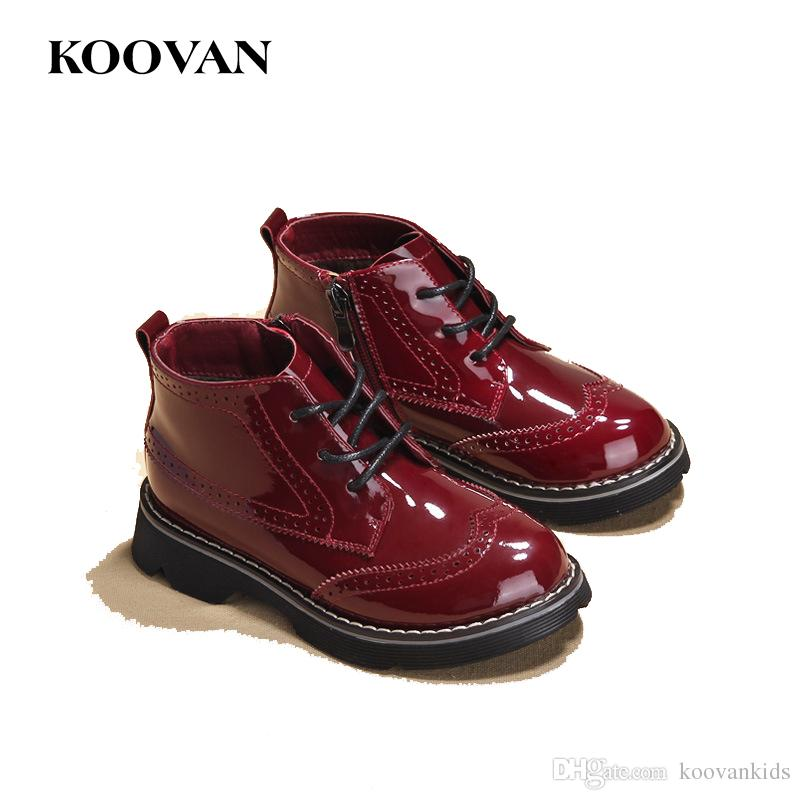 a219a56055c7 Koovan Kids Ankle Martin Boots Patent Leather Hot Sale Big Size Children  Shoe 2017 Spring Autumn Plus Plush Girl Shoes K627 Combat Boots For Little  Girls ...