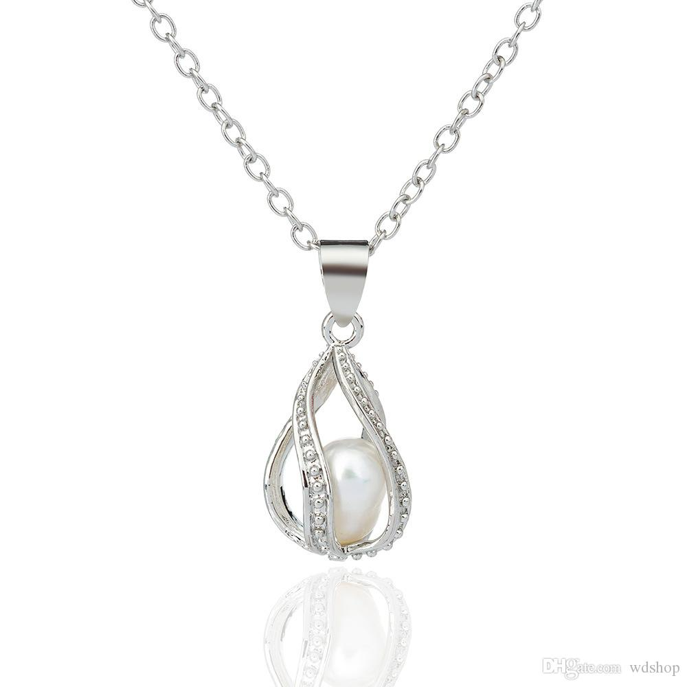 Mermaid Pearl Cage Pendant Necklace With Oyster Pearl Fashion Hollow Locket Clavicle Chain Necklace Fine Jewelry Gift