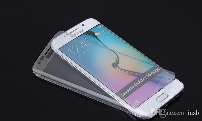Full Cover 3D Curved Hartglas Displayschutzfolie Explosionsgeschützt Anti-Scratch Für Samsung S6 Edge S6edge Plus Mit Kleinkasten