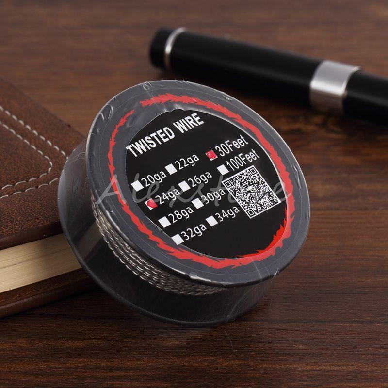 트위스트 와이어 가열 저항 코일 30 피트 30Ft 스풀 AWG 24g 26g 28g 30g 게이지 for Vape DIY 재구성 가능한 분무기 RDA RBA