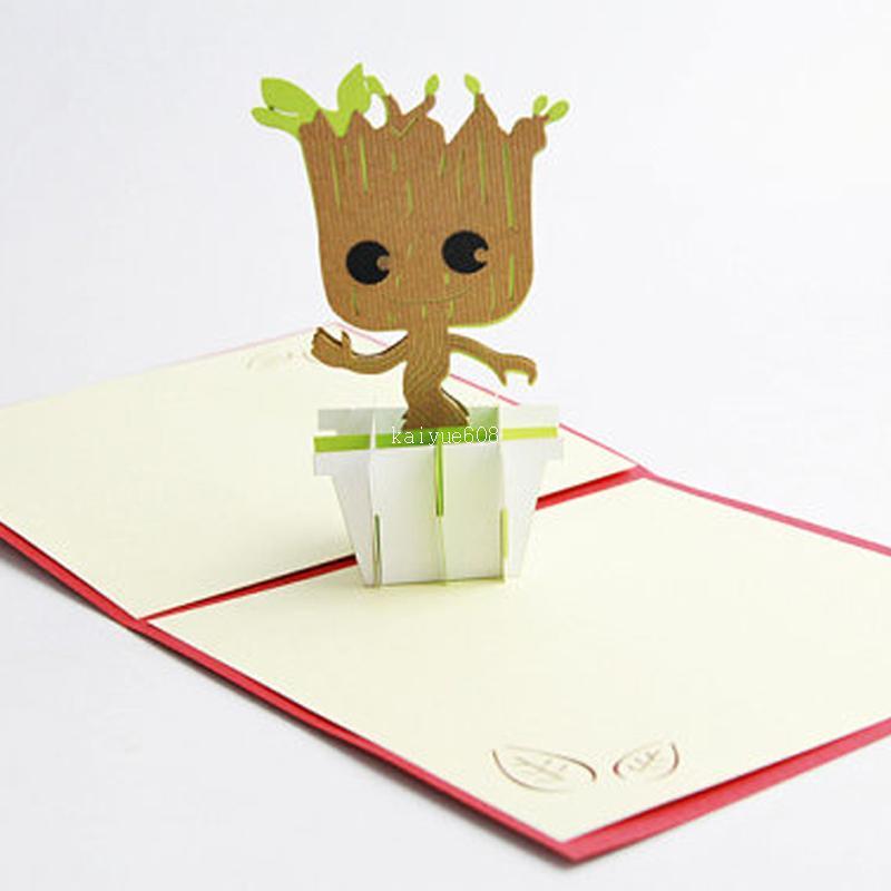 3d Groot Love And Cartoon Card Handmade Paper Groot Wish Card Kids