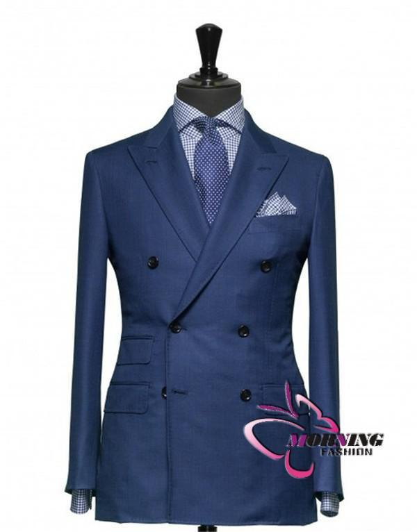 Mavi Suit Damat Smokin Çift Göğüslü Zirveli Yaka Blazer Iş Takım Elbise Groomsmen Erkekler Düğün Suits Ceket + Pantolon + Kravat No: 04