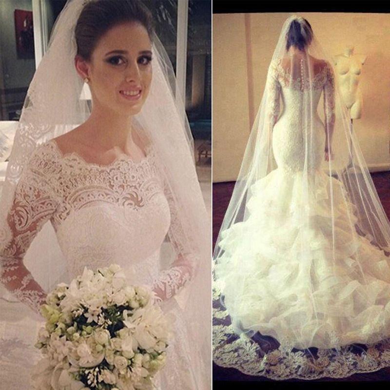 2018 Vestido Novia Vintage Lace Sheer Long Sleeves Wedding Dresses