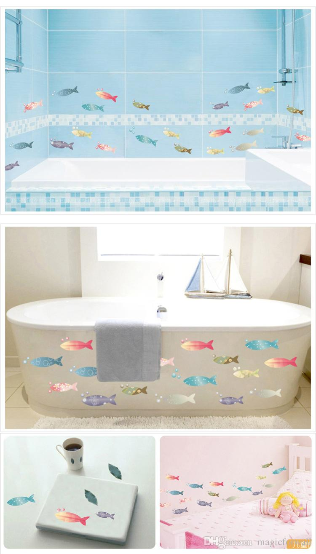Colorido Peixe Arte Mural Adesivo Decoração Do Banheiro Cozinha Copo Laptop Decoração Personalizado Decalque Adesivo DIY Art Home Decalque Cartaz