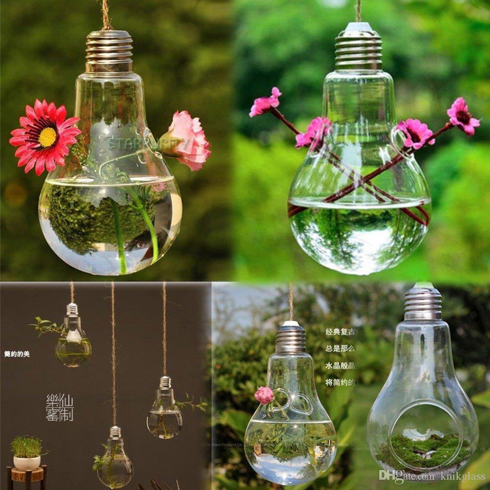hand blown glass lightbulb vase desktop hydroponics green plant