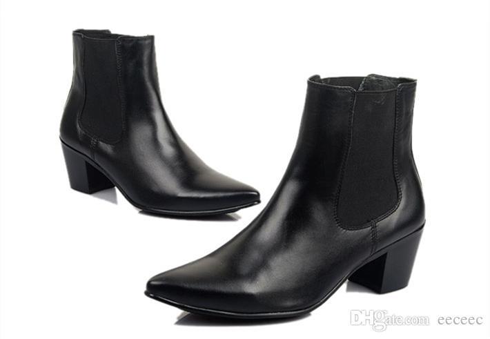Рекомендую !! Мужская острым носом туфли на высоком каблуке полный зерна кожаные сапоги для верховой езды зима Мартин ботильоны повысить обувь дизайнерская обувь