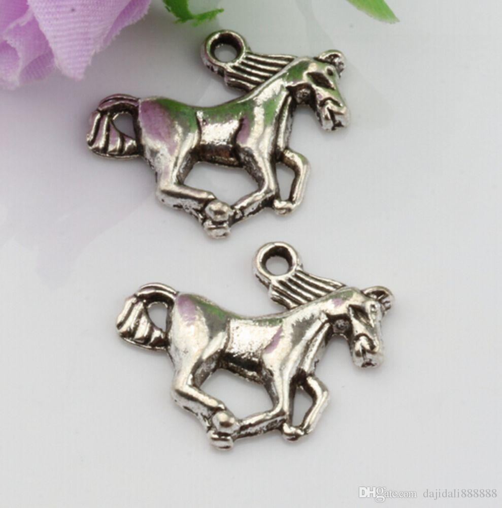 Hot ! Antique Silver Horse Charms Charms 21mmx17.5mm DIY Jewelry