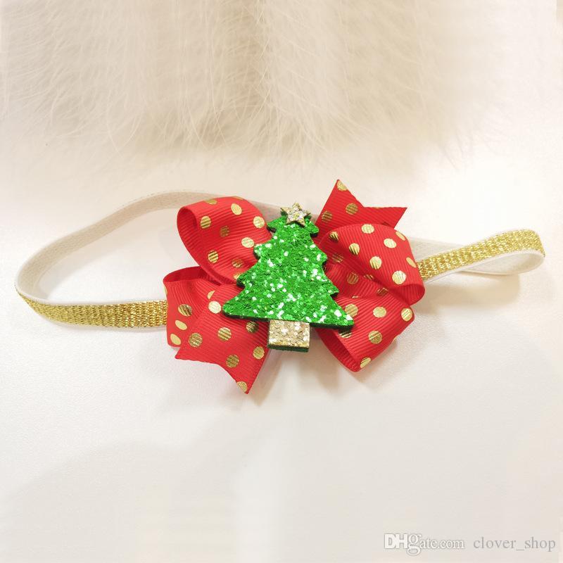 Europe Arbre de Noël Enfant Cerfs Accessoires cheveux enfants Turban filles Bow Headband fleur cheveux clip cadeau