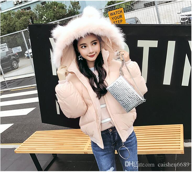New Fashion Bread Coat Jacket Short Cotton Clothes Female 2018 The ... c73f3dffe