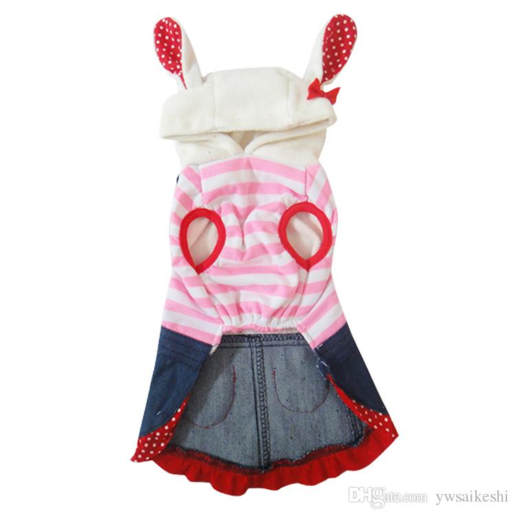 Dog Pet striped Warm Dress Skirt Strawberry Design Cat Puppy Coat Jacket Winter Clothes Apparel 5 sizes