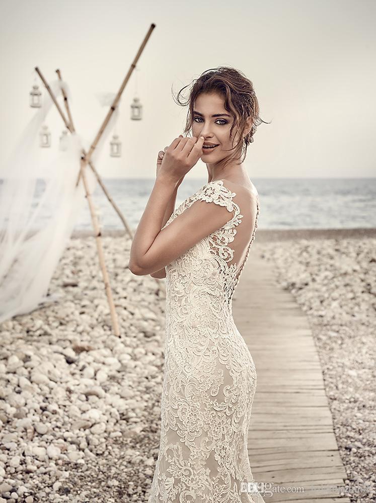 2017 wunderschöne Meerjungfrau Applikationen Spitze Brautkleider Sheer Neck Backless Flügelärmeln Vintage Spitze Brautkleider Nach Maß