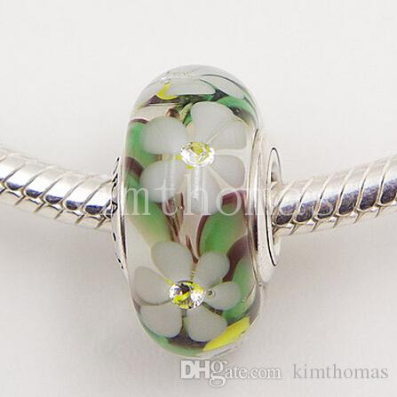 DIY Loose Beads Handmade Lampwork 925 Sterling Silver Flowers Murano Glass with Clear CZ Charm Bead Fits European Pandora Jewelry Bracelets