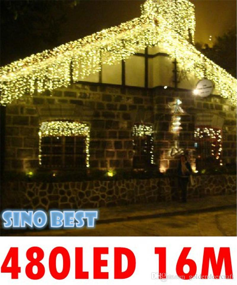 waterproof outdoor 480 led 16m icicle lights for garden christmas xmas holiday wedding party lighting decorations good quality 110v 220v outside string