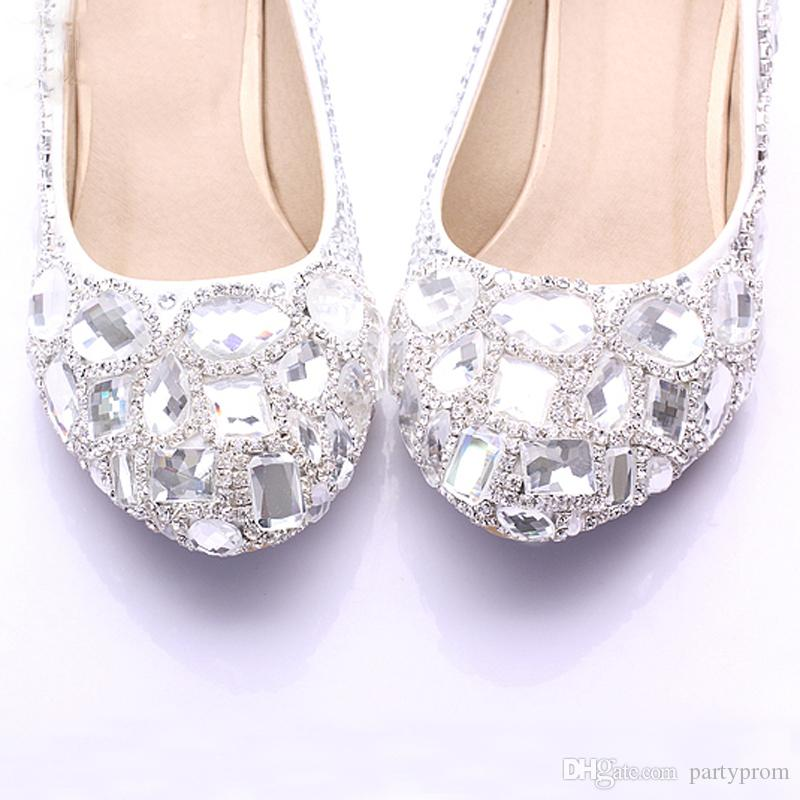 New Bridesmaid Spring Newest Rhinstone Crystal Bridal Wedding Middle Heel Elegant Party Prom Shoes Mother of Bride Shoes