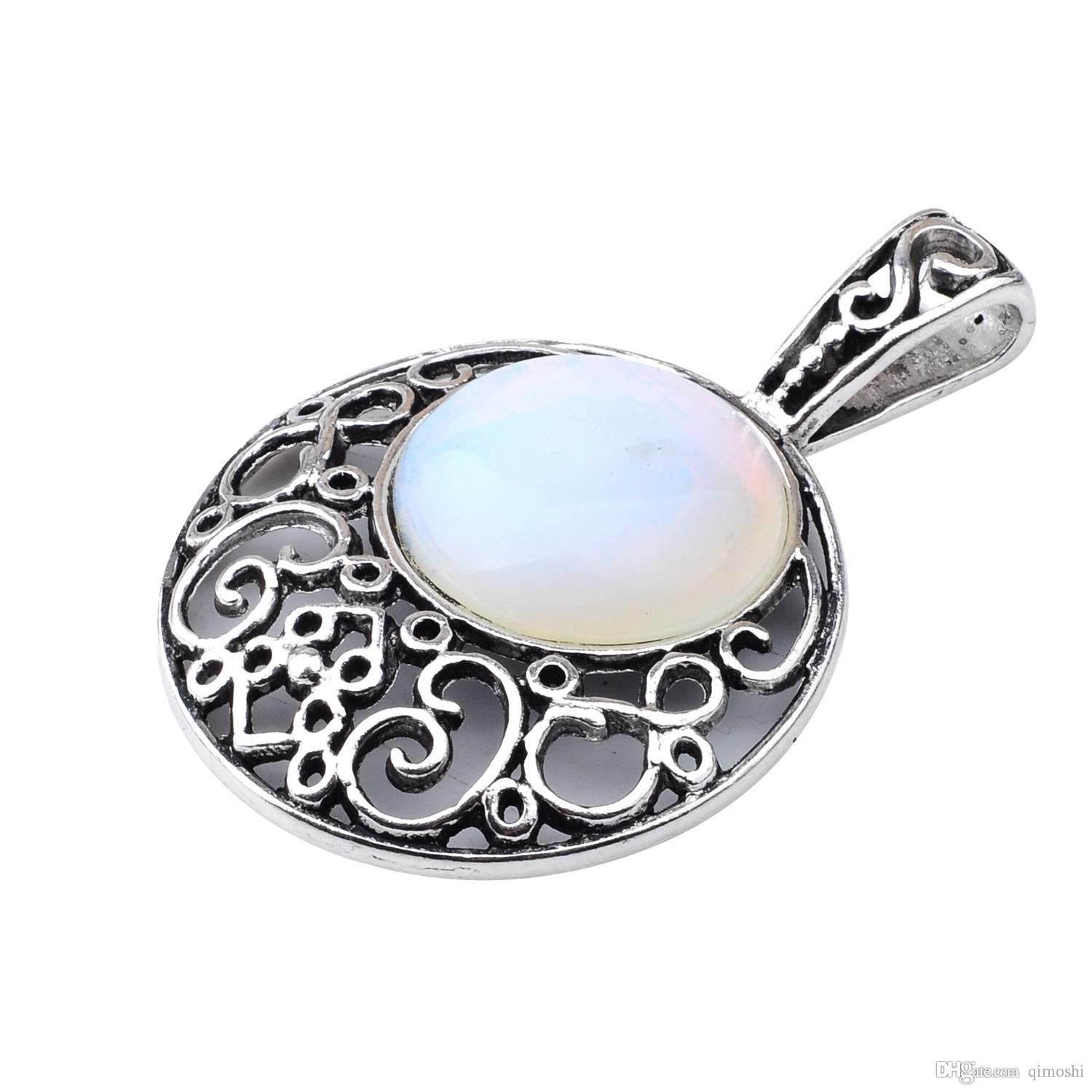 plated jewellery shoptribesandvibes prod silver heart necklace opalite pendant