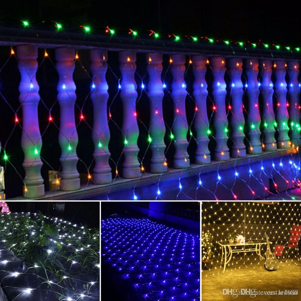 led net string lights christmas outdoor waterproof net mesh fairy light 2m3m 4m6m wedding party light with 8 function controller warm white led string
