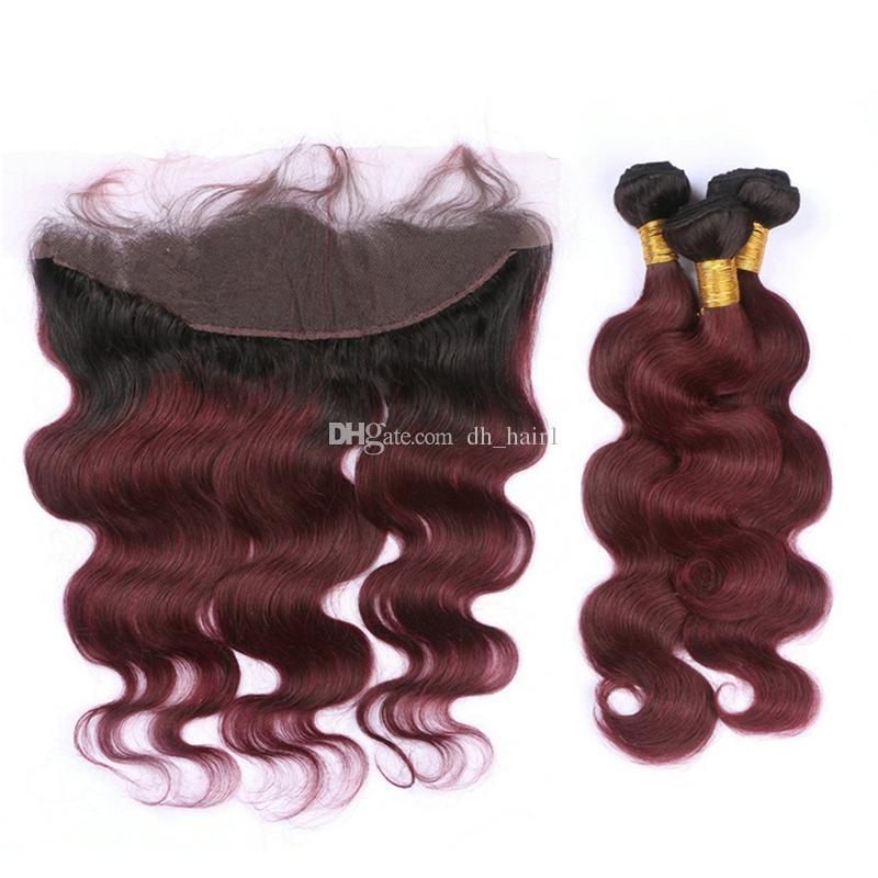 8A Ombre 1B / 99J Körperwelle Haarbündel mit Spitze Frontal Schließung dunkle Wurzeln Burgunder Ombre indisches Haar spinnt mit Frontal