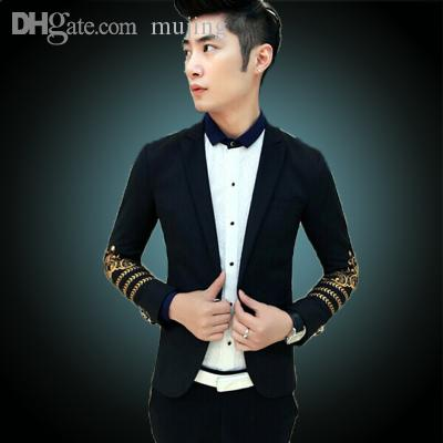 2019 Wholesale New 2015 Luxury Brand Royal Dress Jackets For Men Prom Suits  Black And Gold Blazer Men Suit Jacket Embroidery Jaquetas Masculina From  Mujing 79d2b42be9ed