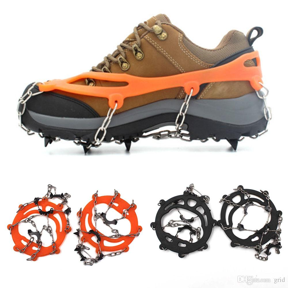 Comercio al por mayor 8 Dientes Garras Crampones Zapatos antideslizantes Cubierta de Acero Inoxidable Gripper Cadena Al Aire Libre Nieve de Esquí Senderismo Escalada