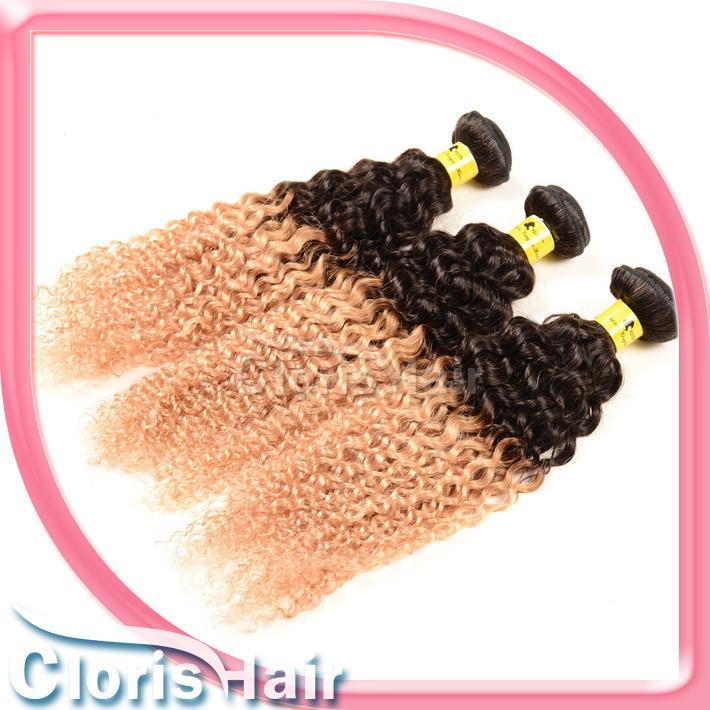 Liberação 3 Bundles Loira Ombre Cabelo Indiano Cru Tecer Dois Tons 1B / 27 Afro Kinky Curly Virgem Extensões de Cabelo Humano ofertas